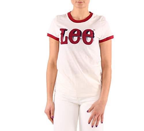 Lee Retro tee - Camiseta para Mujer, diseño con Logotipo, Color Crema Blanco S