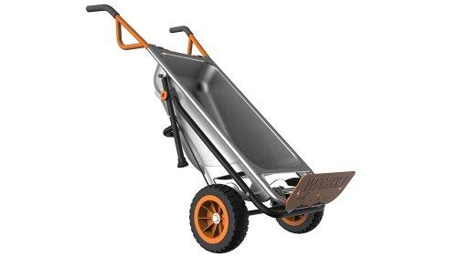 WORX WG050 Aerocart 8-in-1 All-Purpose Wheelbarrow/Yard Cart/Dolly, 18' x 12' x 42', Orange, Black, and Silver