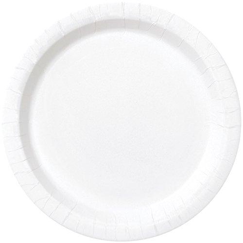Unique Party - Platos de Papel - 23 cm - Blanco - Paquete de 16 (31056)