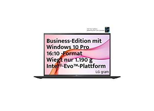 LG gram 16 Zoll Ultralight Notebook Business Edition - 1,19 kg leichter Intel Core i5 Laptop (16GB LPDDR4, 512GB SSD, 22 h Akkulaufzeit, WQXGA IPS Display, Thunderbolt 4, Windows 10 Pro) - Schwarz