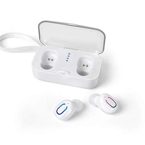 Raxinbang Auriculares Mini Auricular Inalámbrico Biauricular Bluetooth Sonido De Contenedor De Carga HD (Color : White)