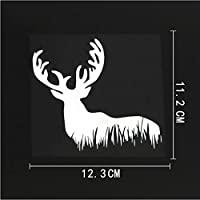 3枚の車のステッカー-12.3CMX11.2CM鹿の動物の森のデカールビニールの車のステッカー