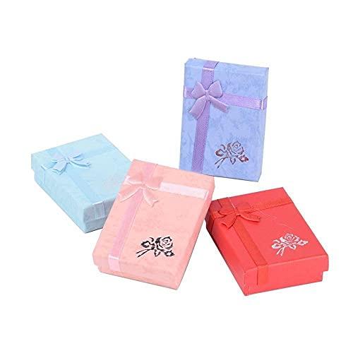 Caja de joyas para joyas, caja de regalo de cartón, collares con colgante y forma rectangular, cajas de joyas de colores mezclados para wom (color mezclado)