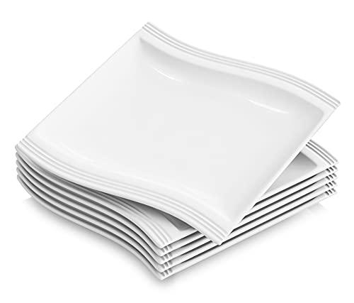 MALACASA, Serie Flora, 6 teilig Set CremeWeiß Porzellan Flachteller Speiseteller Essteller 10,25 Zoll / 26x27x2,5 cm für 6 Personen