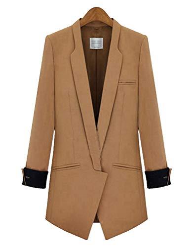 HX fashion Blazer Dames Lente Herfst Mode Comfortabele Maten Lange Blazer Lange Mouw Unieke V-Hals Revers Bovenkleding Elegante Jonge Mode Onregelmatig Pak