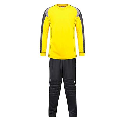 Anti Choques Traje Portero Atuendo Fútbol Americano Engrosamiento Esponja Soporte Codo (Color : Yellow, Size : Medium)