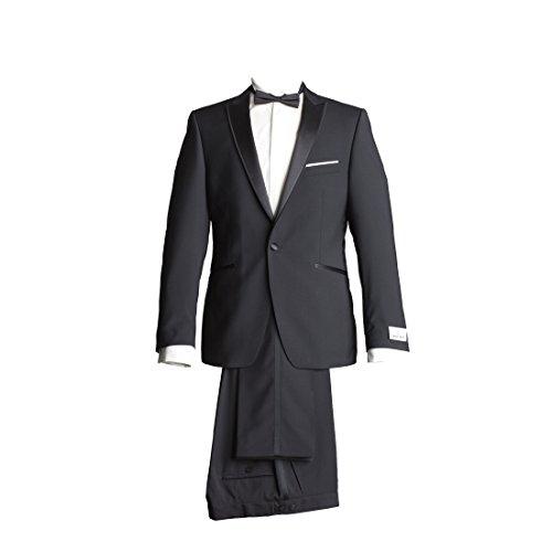 Wilvorst Anzug Smoking Sakko Smoking Hose ohne Bundfalte Schwarz Leicht Glänzend Drop8 Extra Schmal Tailliert Geschnitten Runder Schalkragen Naturalstretch Super 120 IWS 250g 48