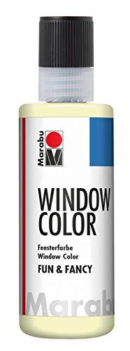 Marabu 04060004872 - Window Color fun & fancy, nachleuchtend gelb 80 ml, Fensterfarbe auf Wasserbasis, ablösbar auf glatten Flächen wie Glas, Spiegel, Fliesen und Folie