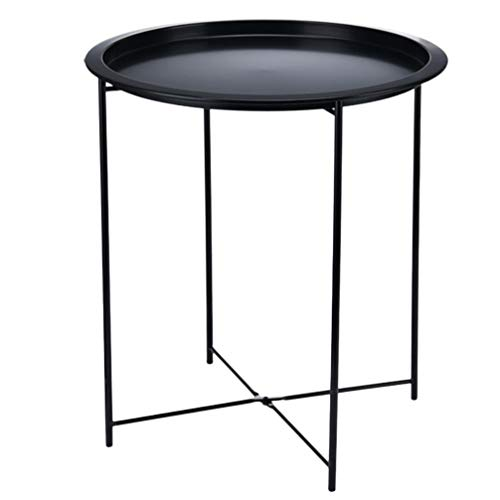 Cabilock Small Round Metal Waterproof End Table Accent Coffee Side Table Snack Sofa Table for Living Room Plant Stand Indoor Outdoor (Black)