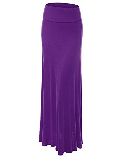 Lock and Love WB670 Womens Fold-Over Maxi Skirt XXXL Barney