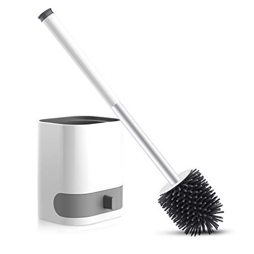WOWGO Brosse WC suspendue avec poils en silicone Avec support amovible, pincette cachée, crochet adhésif pour salle de bain ou WC d'invités