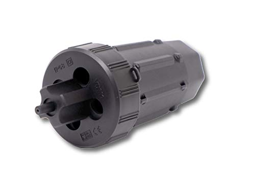 ViD® PREMIUM Dosenmuffe VDM1 IP68 schwarz UV-Schutz inkl. Cuttermesser und Zubehör I Verbindungs- und Abzweigmuffe | mit Verplombungsmöglichkeit und Ösen für den Kabelbinder