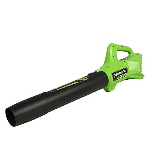 Greenworks Axial soplador de hojas alimentado por batería G24AB (Li-Ion 24V 9,08m³/min de velocidad de aire potente soplador axial con control electrónico de velocidad sin batería y cargador)