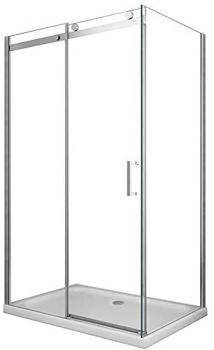 Cabina de ducha de 8 mm compuesta por dos lados H.190 una pared fija y una puerta corredera (80 fija x 140 corredera)