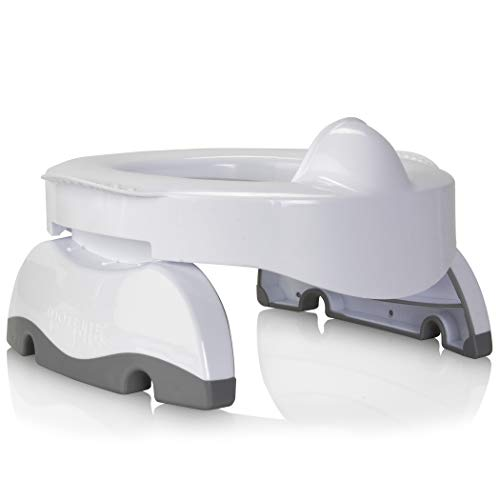 Kalencom Potette Plus Premium 2 in 1 Travel Potty and Toilet Seat Trainer Ring with Built in Pee Guard and Easy-Grip Handles (White/Gray)