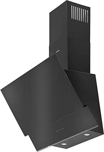 Simfer SMF-CH 5659 Dunstabzugshaube Schwarz Glas | 60 cm | 500 m³ /h | Touch-Control | Digitaler Timer | Wandhaube | Kaminhaube | Schräghaube | Alu-Filter | LED | Teleskopkamin