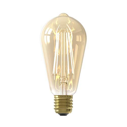 Calex LED volglas LangFilament Rustieklamp 220-240V 6W 430lm E27 ST64, Goud 2100K Dimbaar