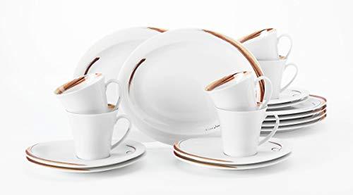 Seltmann Weiden Kaffeeservice 18-teilig weiß | Set für bis zu 6 Personen | Serie Top Life | beinhaltet je 6 Frühstücksteller, Kaffeeober-und Untertassen, Hartporzellan