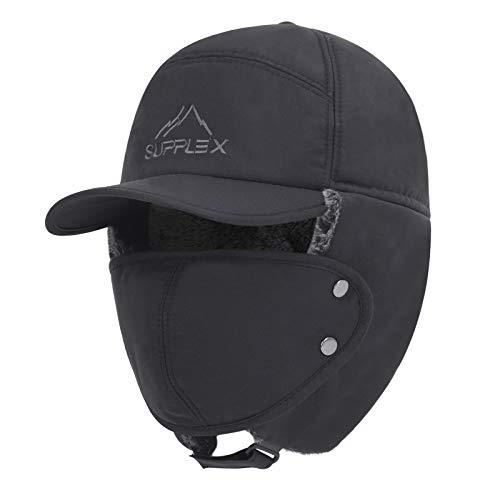 Women Men Ear Flaps Hat Aviator Winter Warm Trapper Hat Snow Ski Cycling Caps (Grey2)