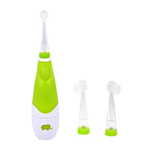 Elektrische Zahnbürste Kinder 6 Monaten bis 3 Jahren, Kinderzahnbürste ab mit Smart Timer 2 Minuten Timer,30sErinnerung Schallzahnbürste mit LED Licht Aufsteckbürste Wasserdicht Batteriebetriebenes