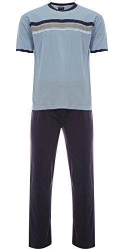Harvey James Jersey Ensemble de Pyjama Long Coton Homme (Bleu) XL
