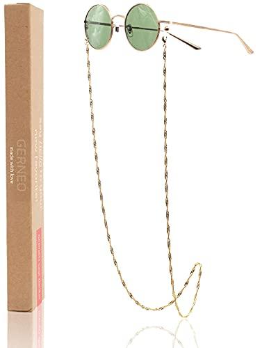 GERNEO® - Toronto – Maskenhalter & Brillenkette Gold - korrosionsbeständig – einzigartig hochwertige Brillen Kette & Brillenband für Sonnenbrille & Lesebrille - Brillenkette mit Karabiner