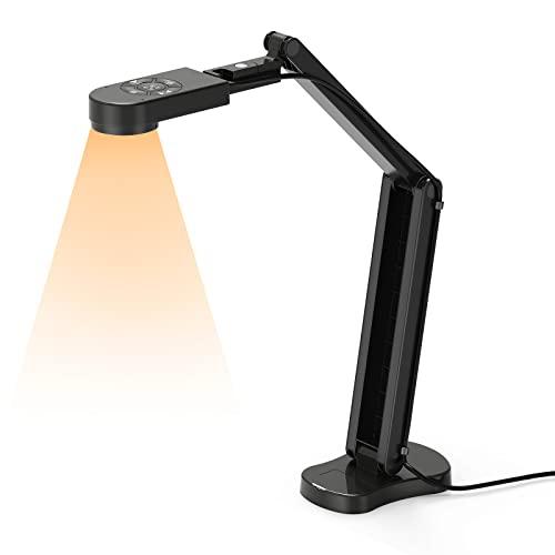 THUSTAR 8MP Dokumentenkamera & 4K Webcam, 2448P Visualizer, Vorlagen bis A3 mit 3-Stufen-LED-Licht, Bildumkehr, Autofokus, faltbar mit Dual-Mikrofonen, für Webkonferenzen mit Zoom, Skype, Teams, OBS