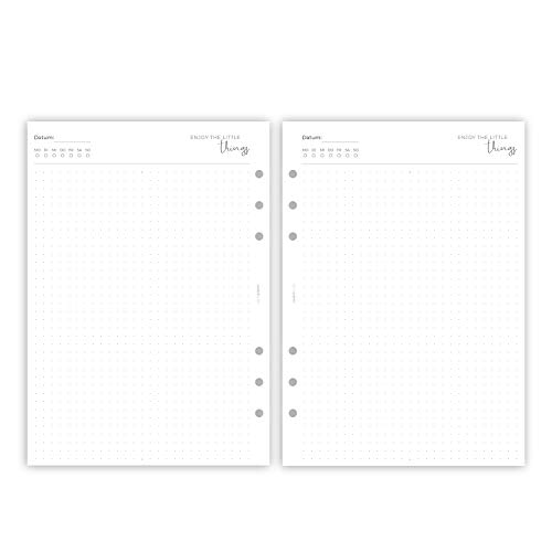 purepaper 3001UD Kalendereinlagen UNDATIERT 1T1S für Organizer und Ringplaner – 50 Blatt   DIN A5, 6-fach Lochung, 120 g Premium Papier