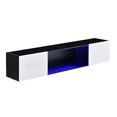 [en.casa] Hängeboard Schwarz/Weiß Hängeschrank 150 x 30 x 30 cm mit LED Beleuchtung Wohnwand mit Ablagefach Lowboard Hängend Spanplatte