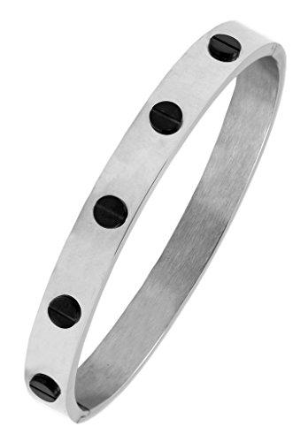 Die jewelboc 316L chirurgischer Edelstahl Rhodium Schwarz Schraube oval Kristallsteinen Armband Armreif für Herren