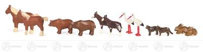Rudolphs Schatzkiste Tire dier toevoeging 2 van ark Noah (12) koud bloed paard, bruine beer, Okapi, haas, Weis ooievaar en kat hoogte van ongeveer. 4,5 cm Erzgebirge band vee hout dier