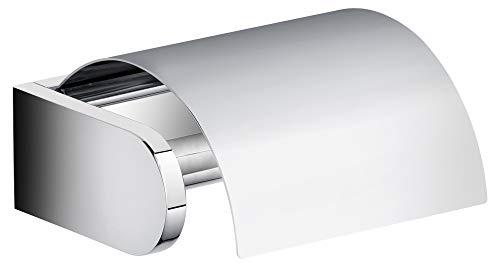 KEUCO Toilettenpapierhalter aus Metall, hochglanz-verchromt, mit Deckel, WC-Rollenhalter für Badezimmer und Gäste-WC, Edition 300