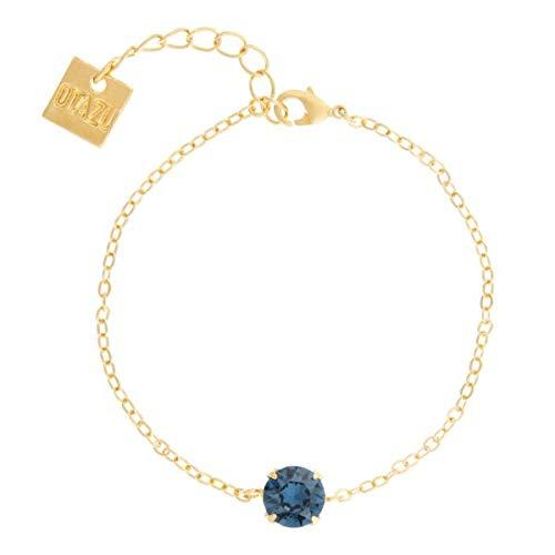 Otazu Handgefertigte Montana Solitaire Armkette Für Frauen - Armkette Für Mädchen - Swarovski Kristalle mit 24-Karat Gold Beschichtung - Elegant & Modernes Armband Für Casual & Formelle Outfits