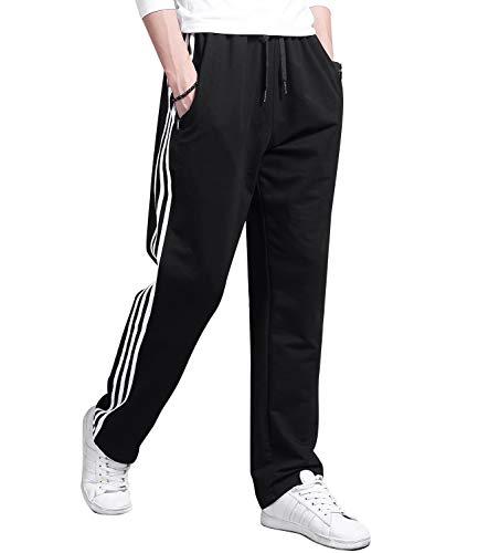 Lachi Pantalon de survêtement ample à rayures pour homme - Noir - 31-35