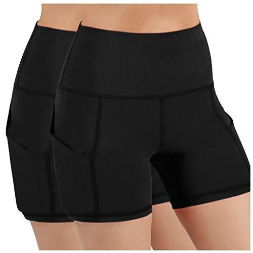 GenericBrands Taurner 2PC Pantalones Cortos de Yoga Negros de Fitness para Correr de Cintura Alta Mujer Leggins Elásticos con Bolsillo