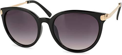 styleBREAKER Sonnenbrille mit Katzenaugen Cat Eye Gläsern und Metall Bügel, runde Glasform, Damen 09020073, Farbe:Gestell Schwarz-Gold/Glas Grau Verlauf