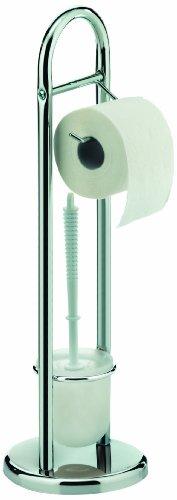 Kela 18002 Toilettengarnitur, WC-Bürstentopf und Papierhalterung, Fabio, Verchromtes Metall, 65,5cm, Silber