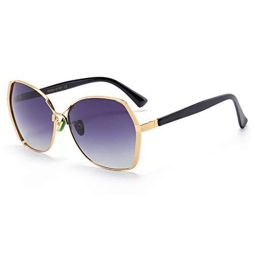 WHSS Sunglasses UV400 Gafas Polarizadas Gafas Película De Color Gafas De Sol Moda Marco De Espejo (Color : Gold)