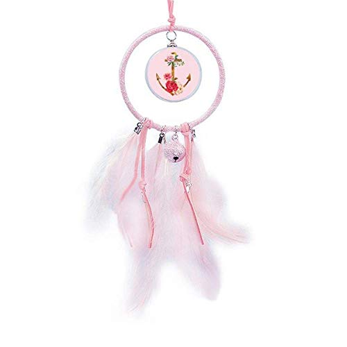 Beauty Gift Atrapasueños de flores con ancla de rosa de acuarela para decoración de dormitorio