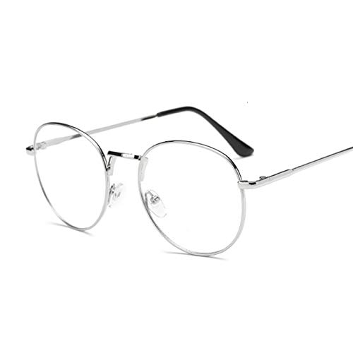 NJJX Montura De Gafas De Moda Vintage Redondas Para Mujer, Gafas Ópticas De Metal, Lentes Transparentes Transparentes, Gafas Nerd Geek, Círculo, Espectáculo, Plata