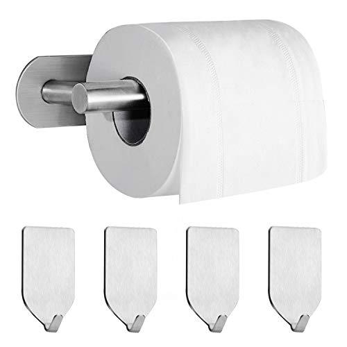 HAUSEIGN Toilettenpapierhalter selbstklebend Klopapierhalter Ohne Bohren edelstahl WC Papierhalter Klorollenhalter, mit 4 Stück Selbstklebend Handtuchhaken Handtuchhalter für Badezimmer und Küche