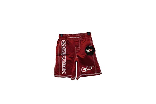 Cage Fighter - YOUTH Red Shorts with White Trim, S