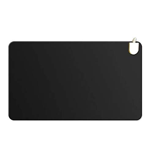 Thin & Soft Square Mouse Pad,Heating Mouse Pad,Warm Heat Mouse Mat,20s Fast Heat Waterproof Desktop Pad,Office Gaming Pad,Pu Leather-Black 60x36cm