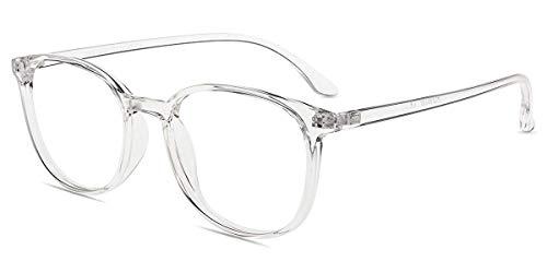 Firmoo Lesebrille 0.0 gegen Blaulicht Entspiegelt Damen Transparent, Eckige Herren Blaulichtfilter Computerbrille mit Sehstärke Anti Müdigkeit, Blaulicht UV Schutzbrille Sehhilfe Brille mit Stärke
