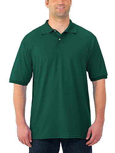 Jerzees Men's SpotShield Stain Resistant Polo Shirts (Short & Long, Short Sleeve-Forest Green, Large