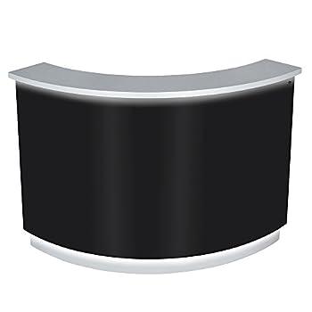 LED Illuminated Curved Reception Desk Reception Area Counter - JANUS - Black/Silver  Center Desk Only