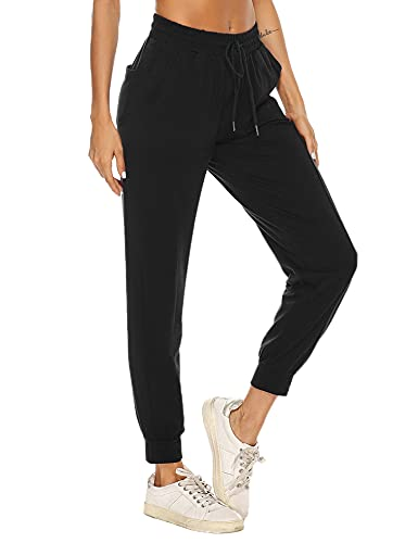 Litherday Pantaloni Sportivi Donna Pantaloni Donna Cotone Pantaloni Tuta Donna Pantaloni Jogger Pantaloni Trekking Donna Pantaloni Eleganti Donna Pantaloni Yoga Donna Nero XL