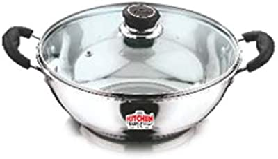 Kitchen Essentials Stainless Steel Induction Base Kadai with Glass Lid 25cm/3 Ltrs