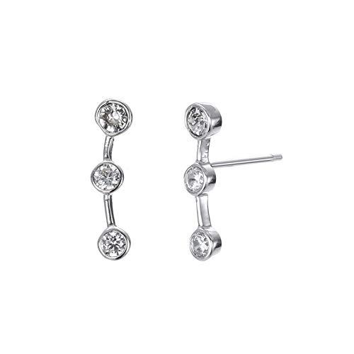 Pendientes de circonita geométrica de moda de joyería cruzada nuevos pendientes de tuerca de Tremella 925 para mujer