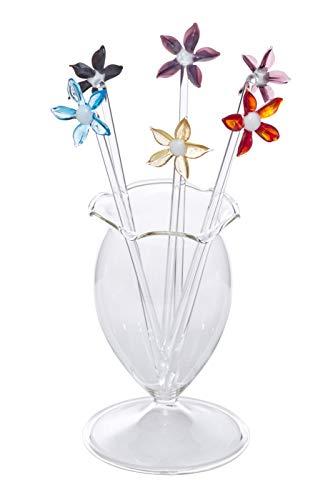 Bowlespießer Fruchtspieße Cocktailspieße Blumen 6 Stück mit mundgeblasenen Gefäß Klarglas Lauscha